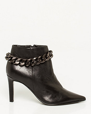Leather Chain Embellished Pointy Bootie