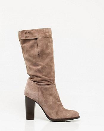 Italian-Made Suede Block Heel Boot