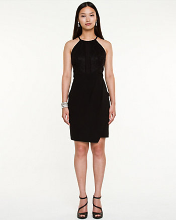 Lace Halter Neck Asymmetrical Dress