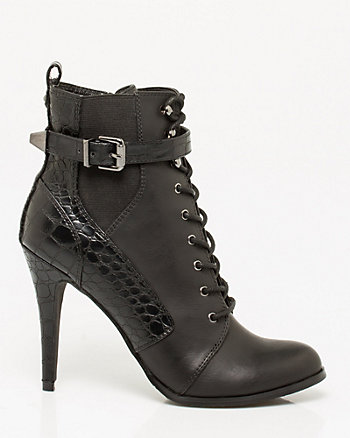 Leather-Like Croco Lace-up Boot