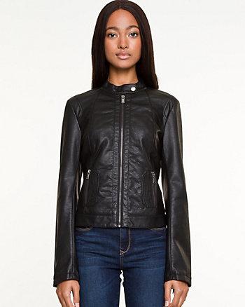 Snake Embossed Leather-Like Motorcycle Jacket