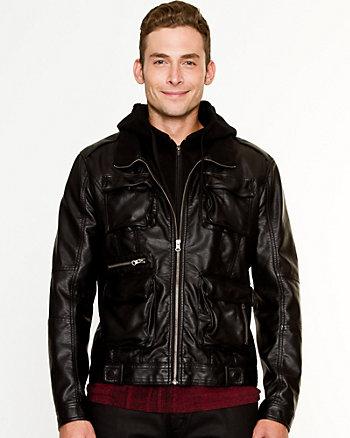 Leather-like Moto Jacket