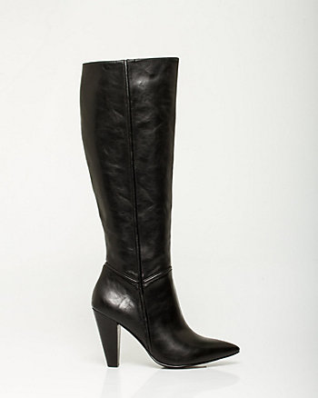 Leather-like Knee-high Pointy Toe Boot