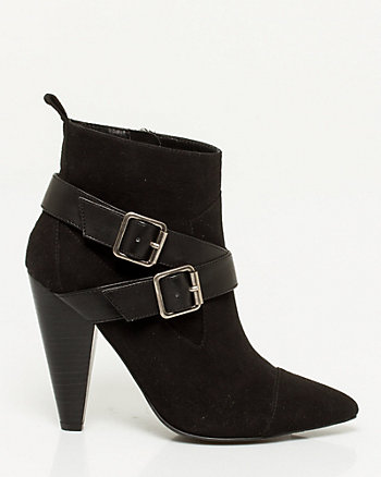 Suede-Like Pointy Toe Cone Heel Boot