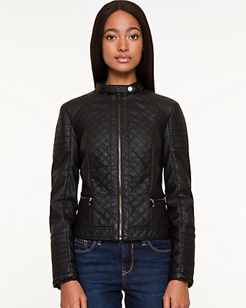Quilted Leather-like Motorcycle Jacket