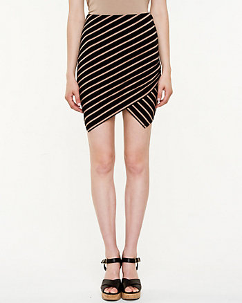 Stripe Pull-on Asymmetrical Skirt