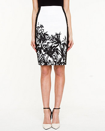 Sateen Floral Print Skirt