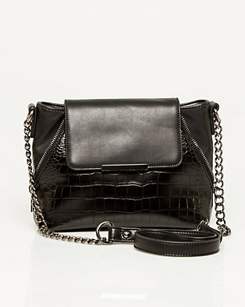 Crocodile Embossed Leather-like Bag