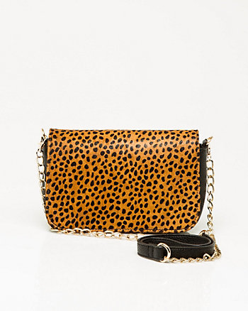 Leopard Print Pony Hair Crossbody Bag