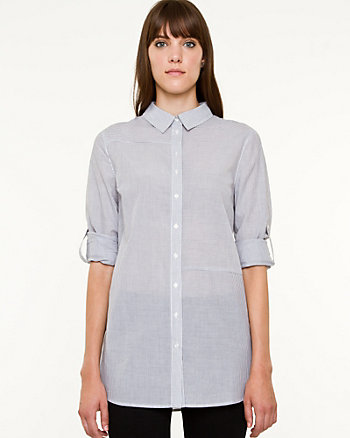 Voile Stripe Button-Front Blouse