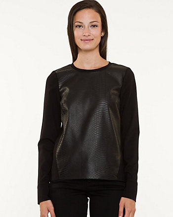 Leather-like & Knit Top