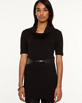Ponte Belted Cowl Neck Tunic