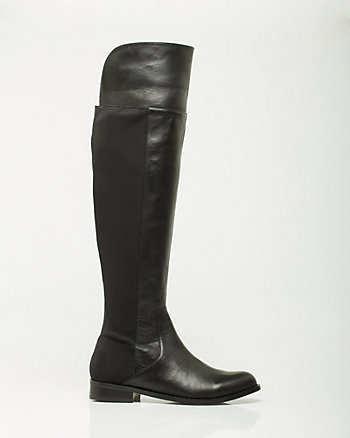 Leather Almond Toe Over-the-Knee Boot