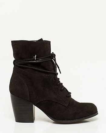 Microfiber Lace-up Ankle Boot