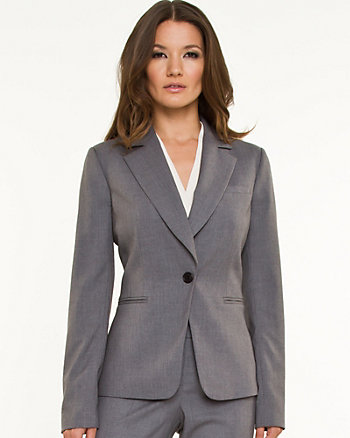 Woven Notch Collar Blazer