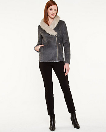 Micro-Suede Jacket with Faux Fur Trim