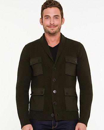 Wool Blend Shawl Collar Cardigan