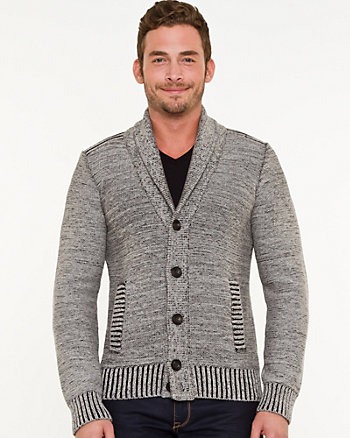 Cotton Colour Block Shawl Collar Cardigan