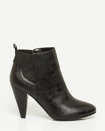 Leather-Like Cone Heel Ankle Boot