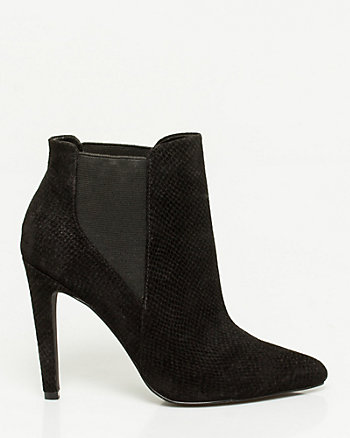 Snake Print Leather Pointy-toe Bootie