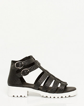 Italian-Made Pebbled Leather Sandal