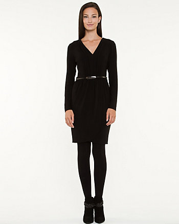 Knit V-neck Wrap Dress