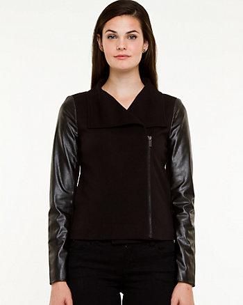 Leather-like & Ponte Knit Asymmetrical Blazer