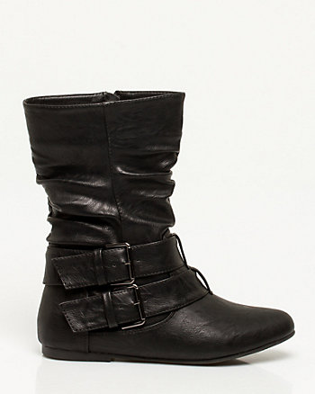 Leather-Like Ruched Ankle Boot