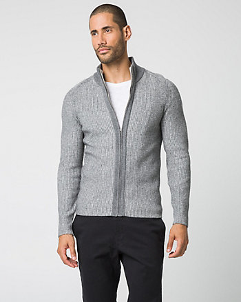 Cotton Blend Funnel Neck Cardigan