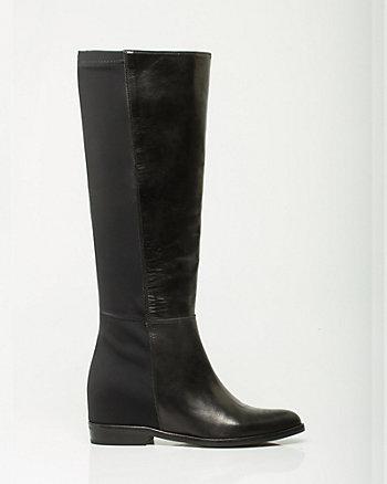Italian-Made Leather & Elastic Knee-High Boot