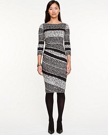 Stripe Ruched Midi Dress