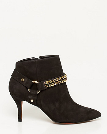Brazilian-Made Chain Embellished Leather Bootie