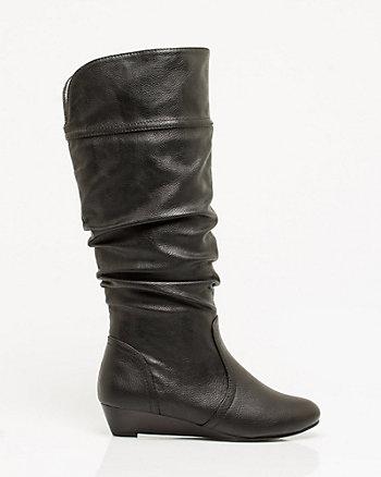 Leather-like Almond Toe Boot