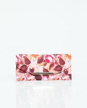 Floral Print Flapover Clutch