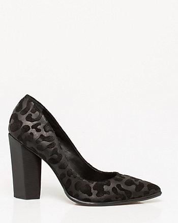 Leopard Print Pointy Block Heel Pump