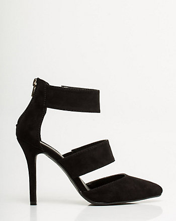 Suede-Like Strappy Pointy Toe Pump