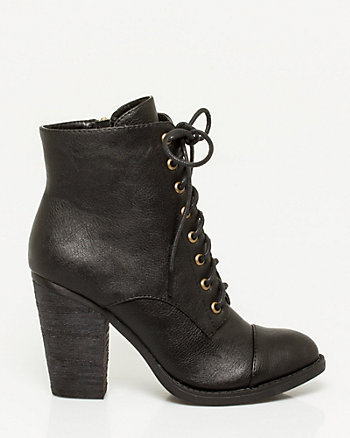 Leather-Like Lace-up Bootie