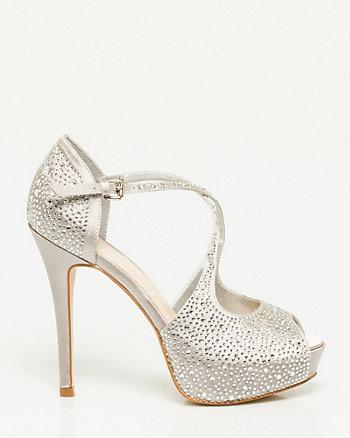 Jewel Embellished Satin Platform Sandal