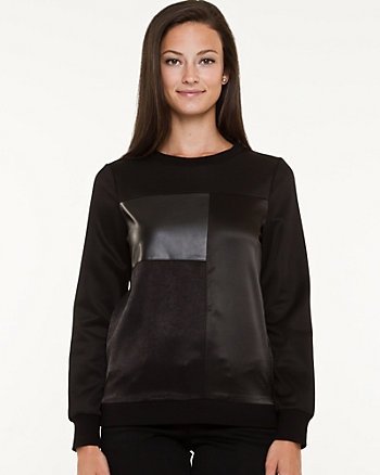 Leather-like & Knit Long Sleeve Top