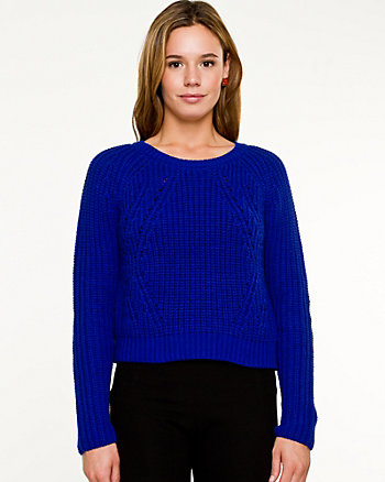 Cotton Blend Ribbed Crop Sweater