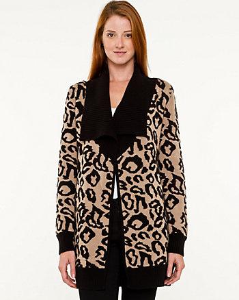 Wool Blend Leopard Print Throwover