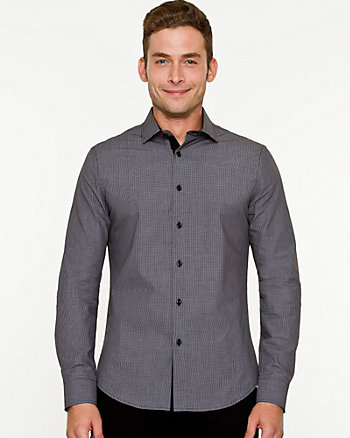 Check Mix Media Slim Fit Shirt
