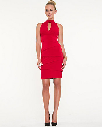 Knit Keyhole Halter Dress