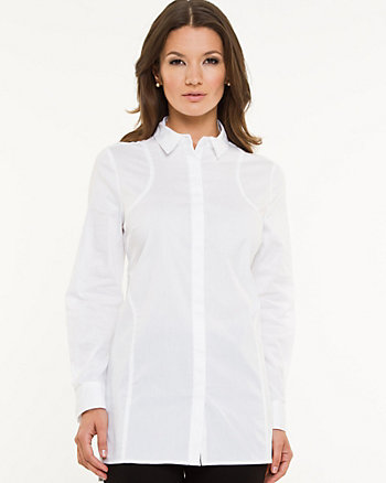Stretch Poplin Button-Front Tunic