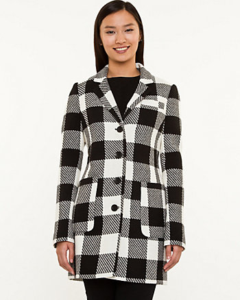Plaid Wool Blend Reefer Coat