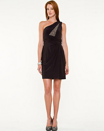 Beaded Asymmetrical Cocktail Dress