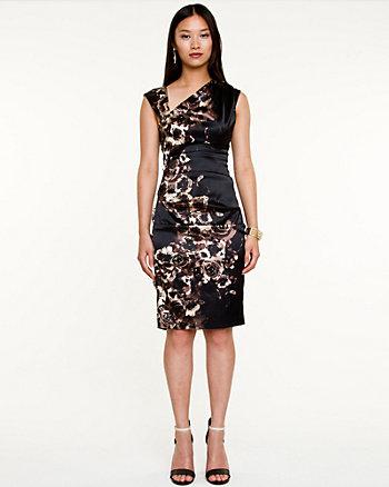 Satin Floral Print Asymmetrical Dress