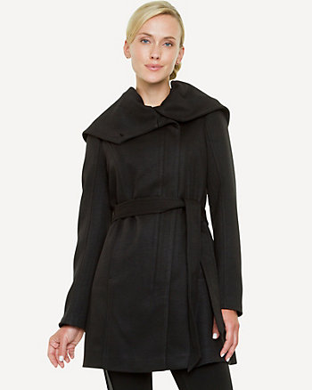 Double Knit Foldover Collar Coat