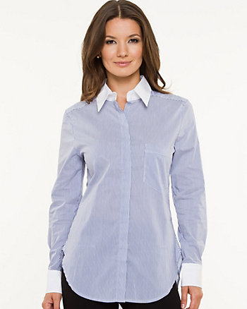 Stretch Poplin Stripe Button-front Blouse