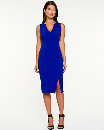 Jersey Knit V-neck Sleeveless Dress